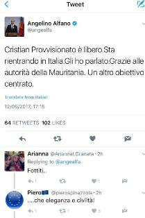 تغريدة نائب وزير الخارجية الإيطالي بعد ان انتزع مواطنه من ايدي القوم