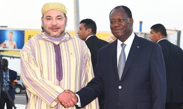 الملك محمد السادس رفقة الرئيس الإيفواري الحسن واتارا