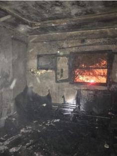 بيت أهل اباتي الكرام بعض تعرضه لحريق هائل ليلة البارحة