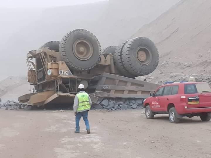 صورة من الشاحنة لحظة ارتطامها بالارض